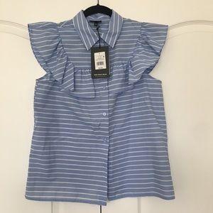 Striped ruffle blouse